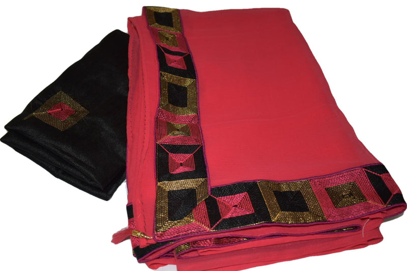 Pink Color - Pure Marble Chiffon Saree - Silk Thread Embroidery