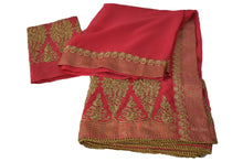 Load image into Gallery viewer, Pure Marble Chiffon Embroidered Saree with Brocade Silk border in Strawberry Pink Color