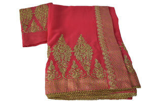 Pure Marble Chiffon Embroidered Saree with Brocade Silk border in Strawberry Pink Color