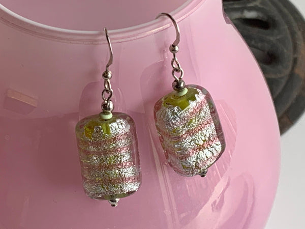 GREEN SPARKLY SILVER GLASS BEAD EARRING - PINK BANDS - HANDMADE