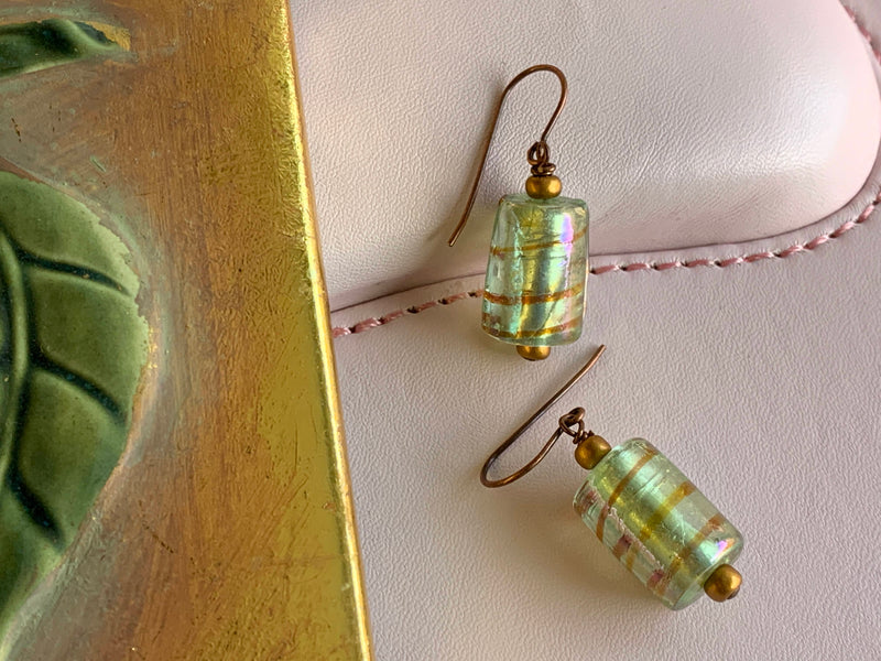 Green Shiny Glass Bead Earrings - Brown Bands - Handmade