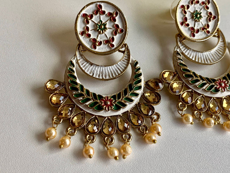 GOLD WHITE COLOR - PEARL BEADS-MEENAKARI KUNDAN EARRINGS