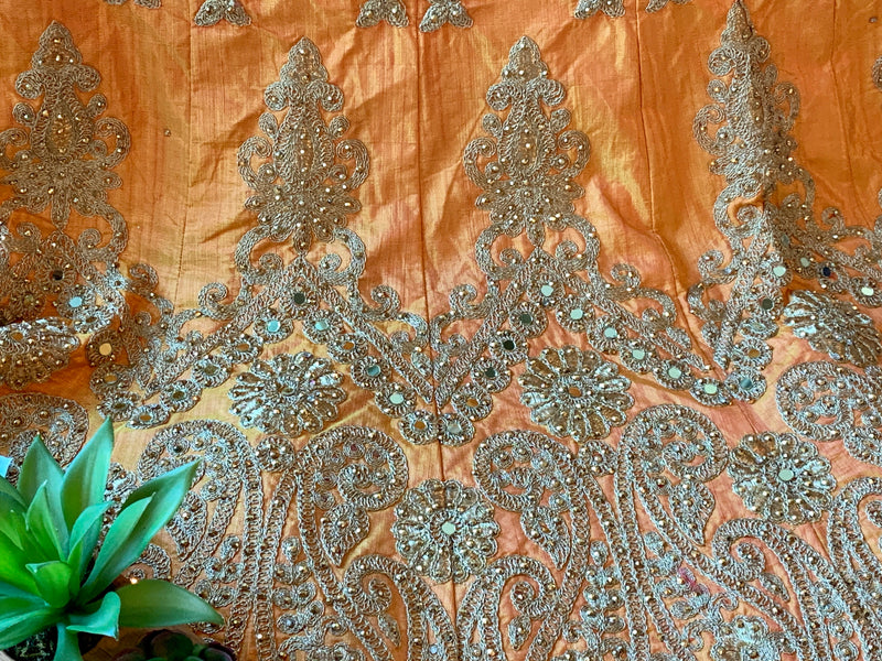 Marigold Orange Color - Pure Silk, Raw Effect, Jewel Studded, Embroidered - Lehenga Choli Duppata Set