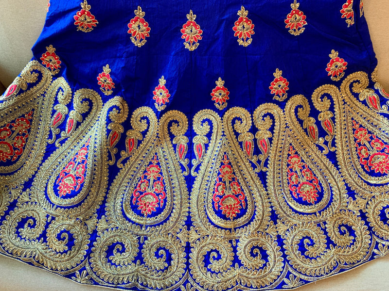 Persian Blue Color - Pure Silk, Raw  Effect, Jewel Studded, Embroidered - Lehenga Choli Duppata Set