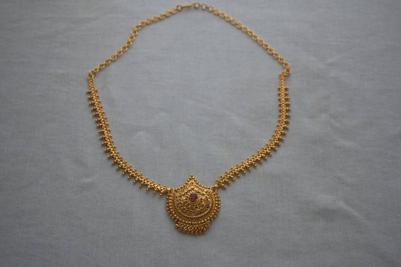 Gold Plated - Temple Royalty Jewelry - Short Necklace Set - Gold Plated Beads