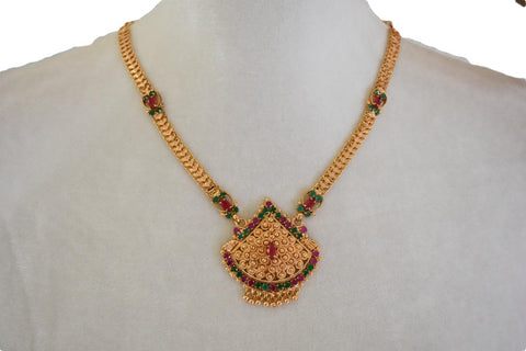 Gold Plated Necklace with Jewels and Jimmy Earrings