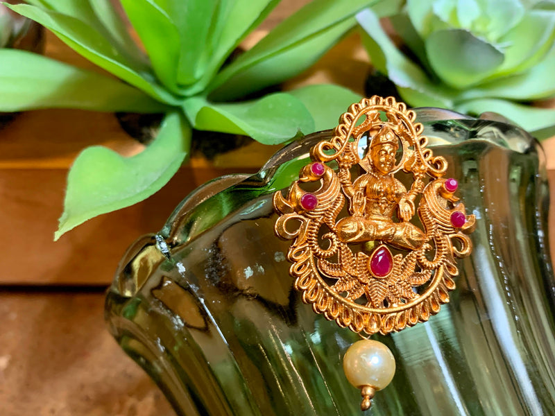 Goddess Lakshmi - Temple Jewelry - Hair Clip - Jewel Stone Studded