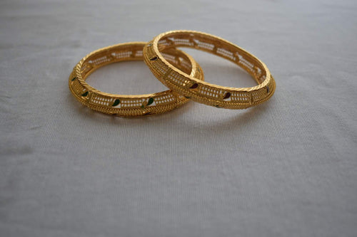 Gold Plated Bangles -Design VIII - Size - 2.4/2.6