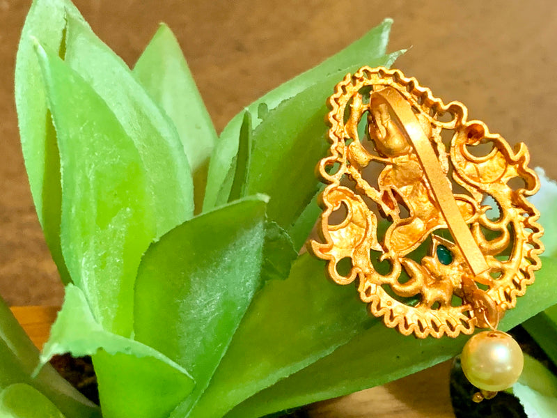 "Gold Plated Goddess Lakshmi Temple Jewelry Hair Clip with Red and Green jewel stones - Size - 2"" height"