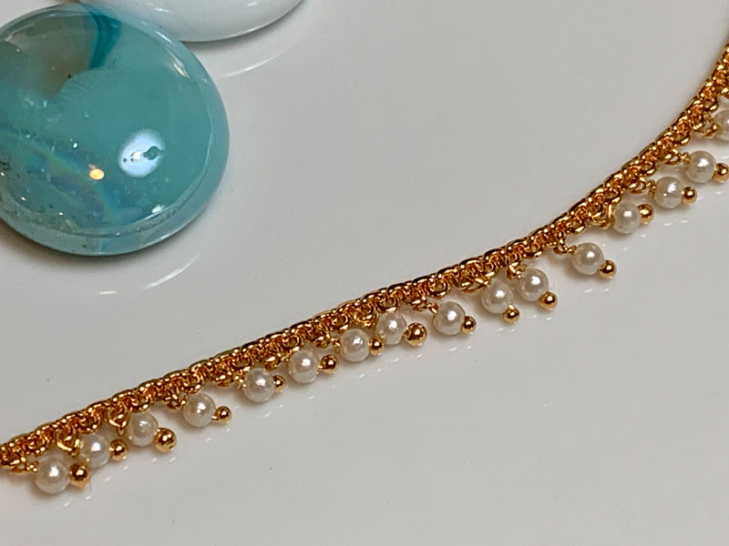 Gold Plated Earring Chain with Pearl Beads