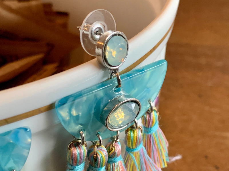 Pastel Acrylic Stone Earrings - Handmade - Moonstone Color - Silky Thread Fringe