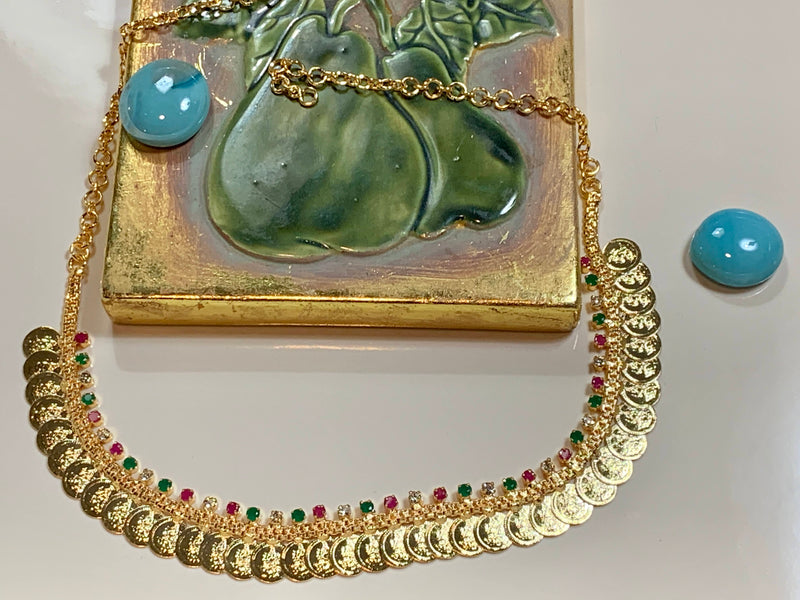 Gold Plated Goddess Lakshmi Coin Necklace with Earrings in Green Jewel