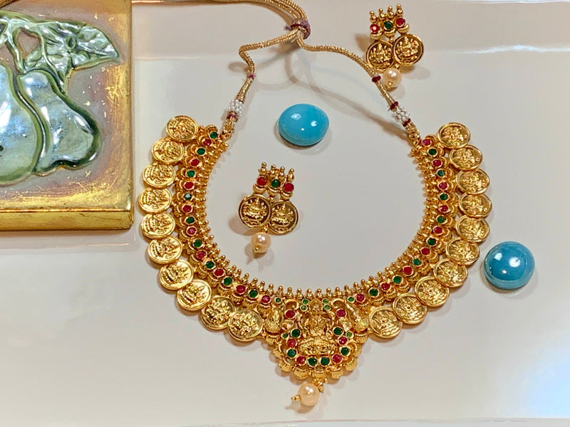 Gold Plated Goddess Lakshmi Choker Necklace with earrings