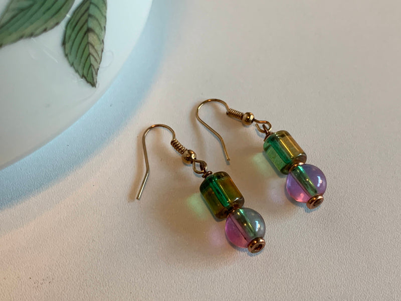 Pink Blue Color - Glass Bead - Handmade Earrings