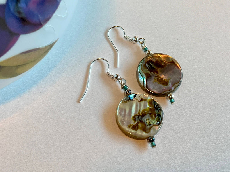 Mother Of Pearl  Glass Bead Earrings - Handmade - Modern Art Fashion Earrings