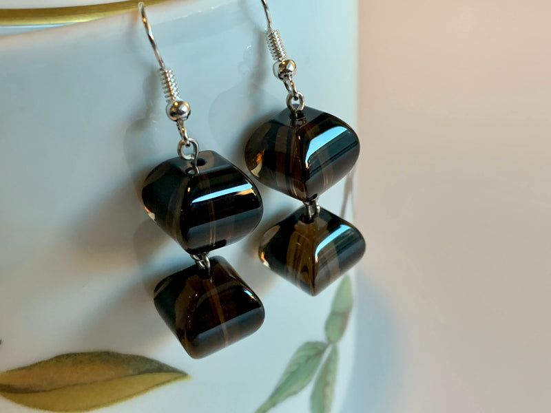 Brown Color- Czech Glass Bead - Artisan Style Earrings - Handmade