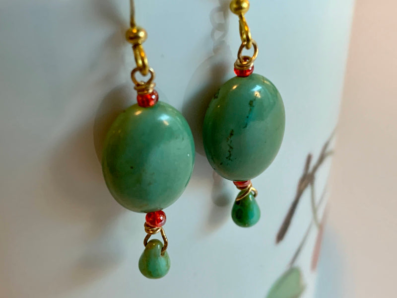 GREEN COLOR- OVAL STONE BEAD - ARTISAN STYLE EARRINGS- HANDMADE
