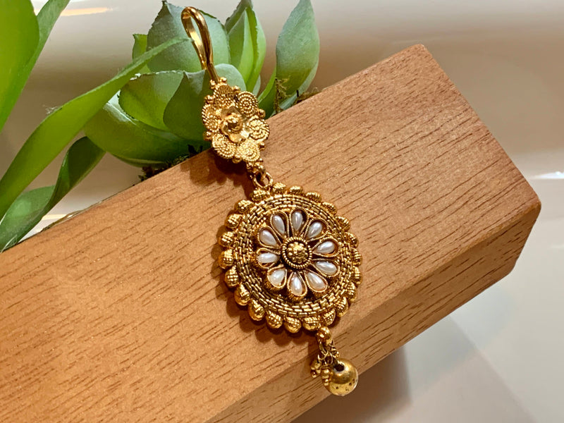Gold Plated - Royalty Jewelry - Maang Tikka with Pearl Beads