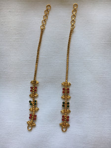Gold Plated Earring Chain with Green Maroon enamel design