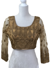 Load image into Gallery viewer, Embroidered Saree Blouse III in Rich Golden Color, Size - Small/Medium