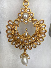 Load image into Gallery viewer, Gold Plated Maang Tikka and Earring Set with Pearl Beads