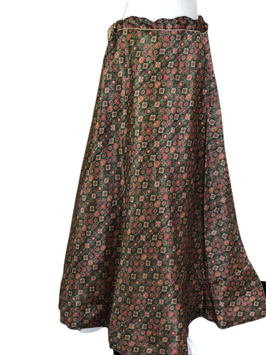 Silk Skirt in Green color with Top
