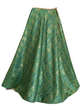Pure Brocade Silk Skirt in Green color, Size - Free Size - Long