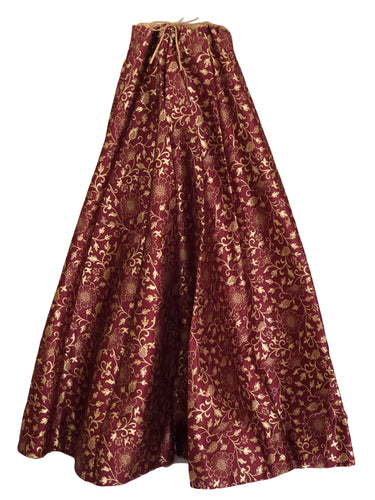 Pure Brocade Silk Skirt in Maroon color, Size - Free Size - Long