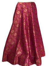 Load image into Gallery viewer, Pure Brocade Silk Skirt in Dark Pink color, Size - Free Size - Long