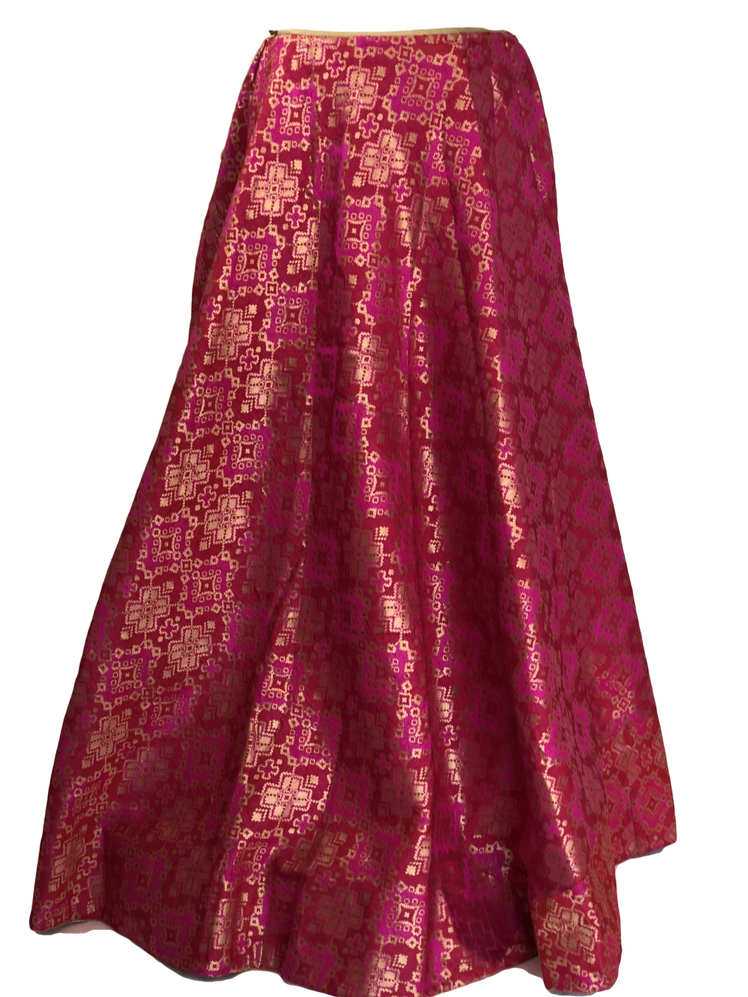 Pure Brocade Silk Skirt in Dark Pink color, Size - Free Size - Long