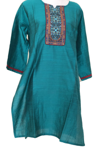 Pure Silk Kurti Top in Turquoise Green color