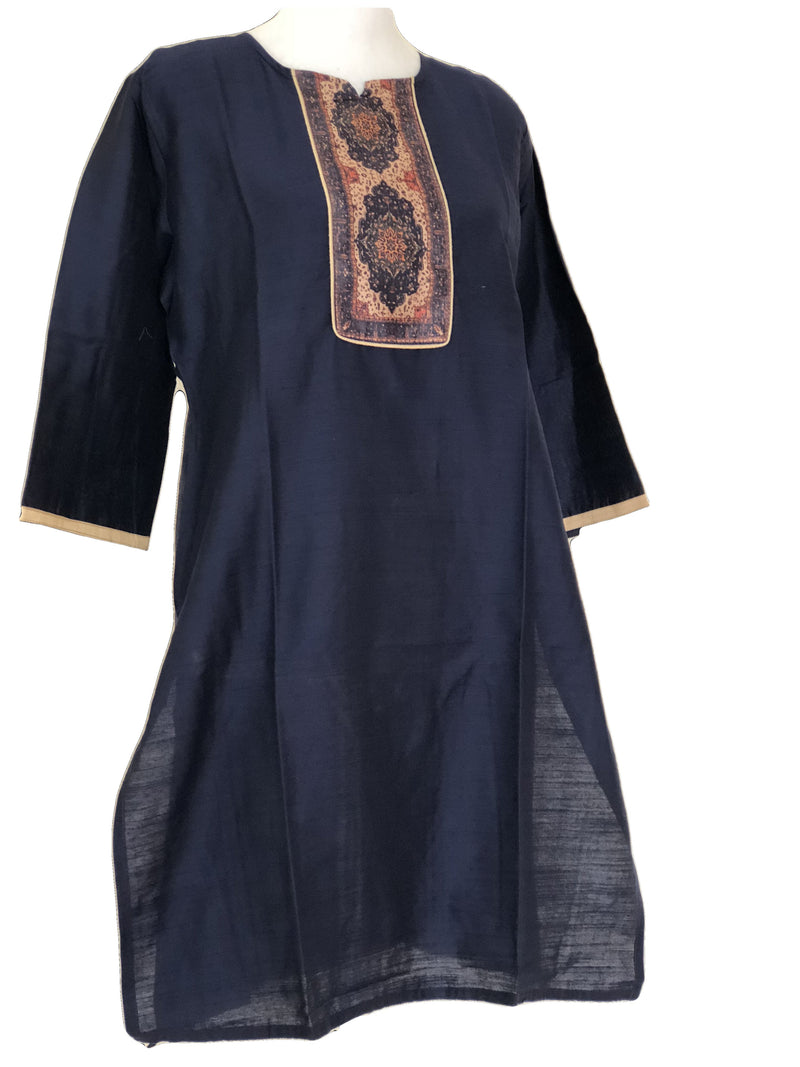 Pure Raw Silk Kurti in Navy Blue color