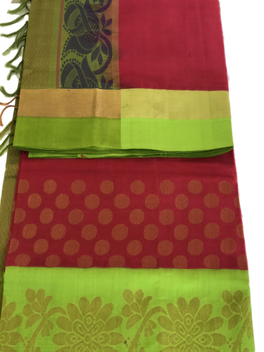 South Silk Cotton Blend Saree with Reddish Pink Color