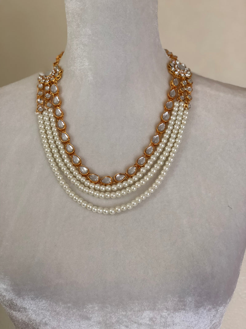 PEARL BEADS AND KUNDAN - NECKLACE SET