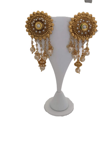 Gold Plated Earrings with White Pearl Beads