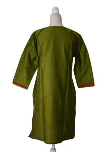 Pure Silk Kurti Top in Green color