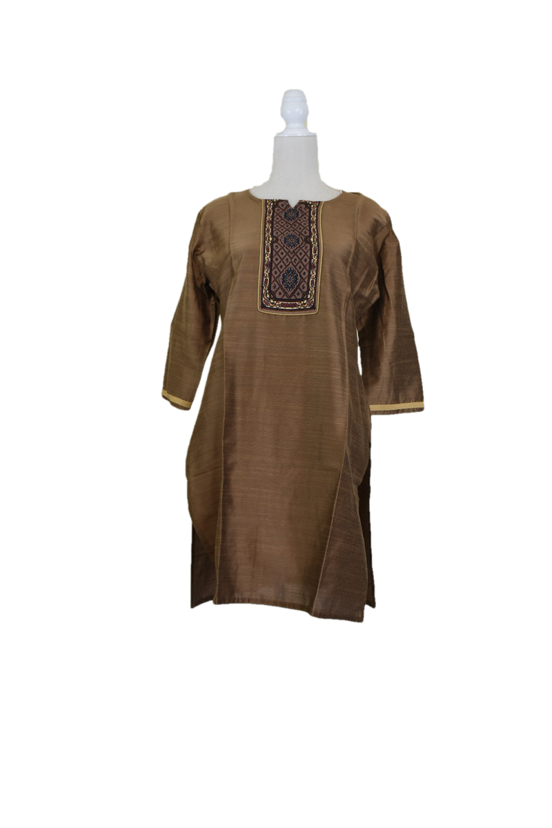 Rust Brown Color - Pure Raw Silk Kurti Tunic