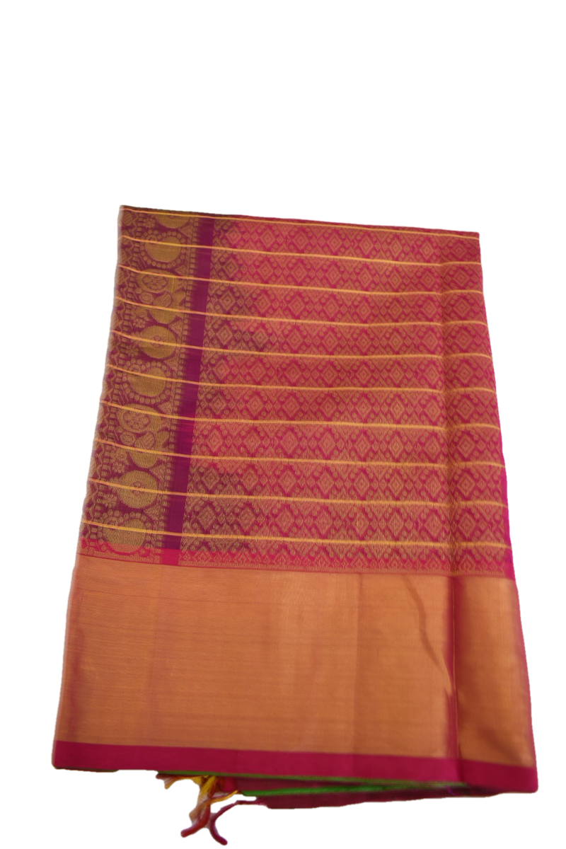 FOREST GREEN COLOR - SOUTH PURE SILK COTTON BLEND SAREE - ZARI DESIGN