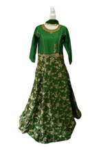 Load image into Gallery viewer, Silk Gold Emboss and Embroidered Anarkali Kameez in Green color