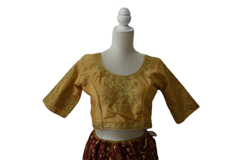 Embroidered Gold Silk Saree Blouse V in Size - 32/34