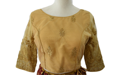 Load image into Gallery viewer, Embroidered Saree Blouse I and II in Rich Golden Color,Size - Small/Medium