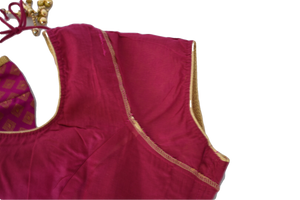 Brocade Silk Saree Blouse in Pink Color