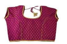 Load image into Gallery viewer, Brocade Silk Saree Blouse in Pink Color