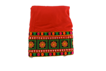 Load image into Gallery viewer, Embroidered Border Poly Cotton Skirt in Bright Red color Size - Small/Medium