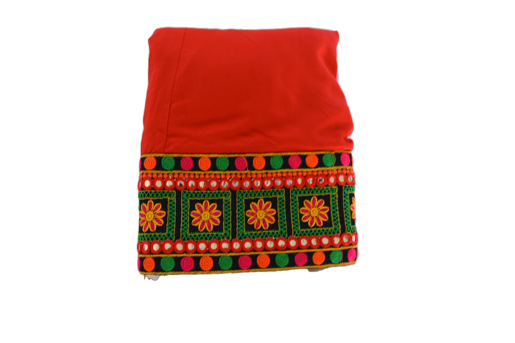 Embroidered Border Poly Cotton Skirt in Bright Red color Size - Small/Medium
