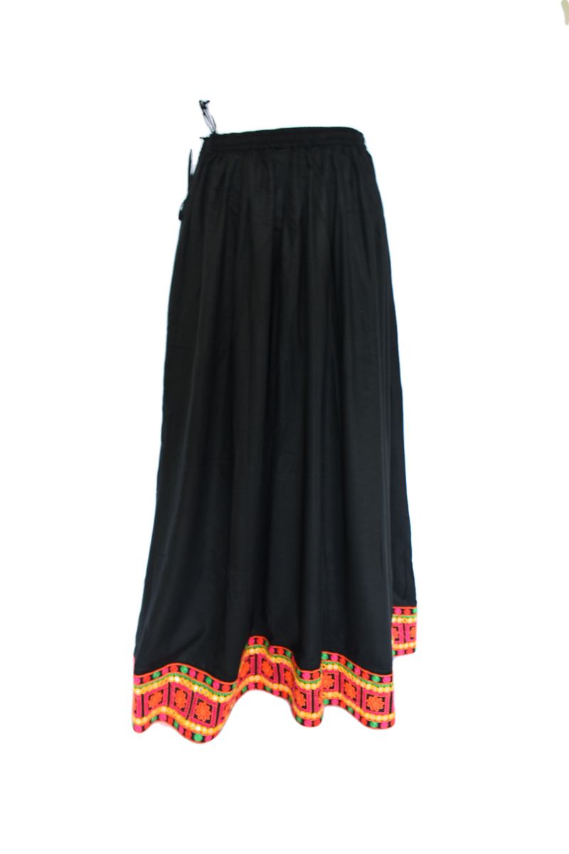 Embroidered Border Poly Cotton Skirt in Black color, Size Small/Medium