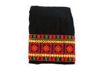 Load image into Gallery viewer, Embroidered Border Poly Cotton Skirt in Black color, Size Small/Medium