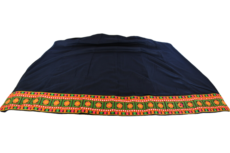Embroidered Border Poly Cotton Skirt in Navy color, Size - Small/Medium