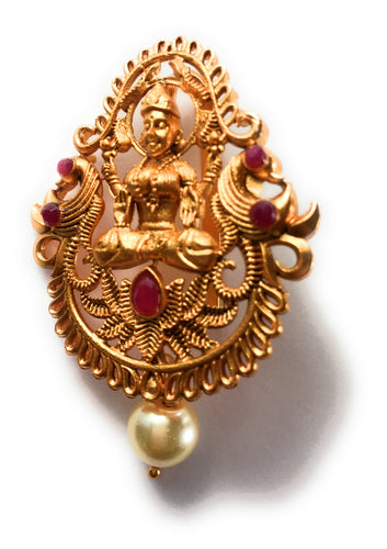 Gold Plated Goddess Lakshmi Brooch / Pendent/Hair Clip with Red jewels - Size - 2