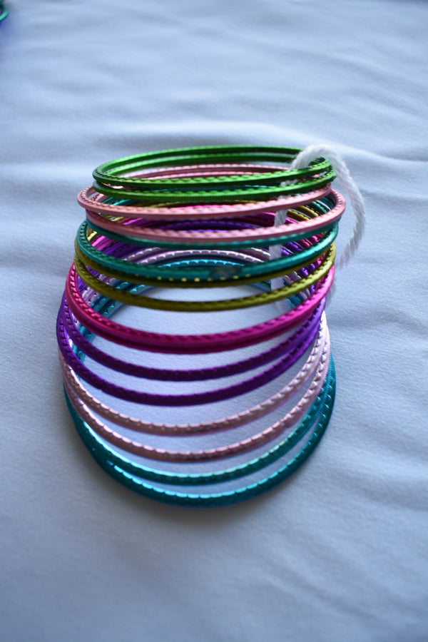Multicolored Metal Bangles  - Set of 14 to 16 bangles